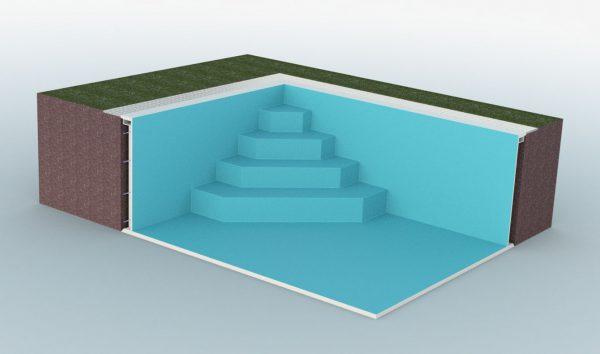 Summer Pool Treppe diagonal eckig